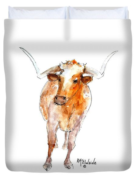 Longhorn 1 Watercolor Painting By Kmcelwaine Duvet Cover