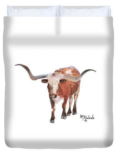 Longhorn 17 Big Daddy Watercolor Painting By Kmcelwaine Duvet Cover