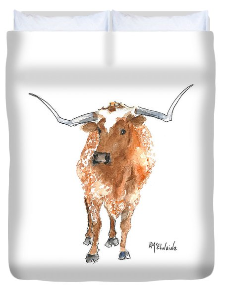 Longhorn 2 Runnin Wild Watercolor Painting By Kmcelwaine Duvet Cover