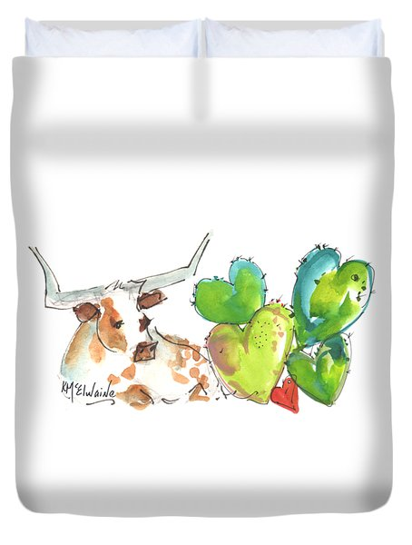 Longhorn And Valentine Cactus Duvet Cover