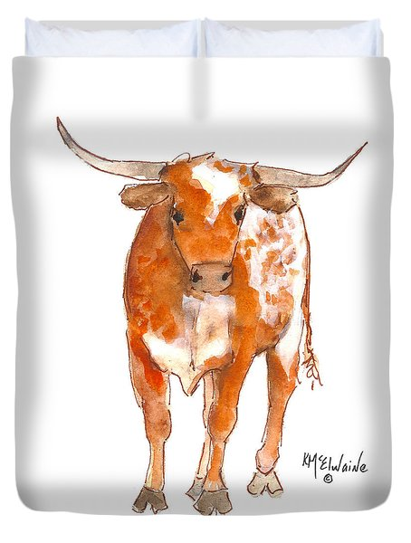 Texas Red Longhorn Watercolor Painting By Kmcelwaine Duvet Cover
