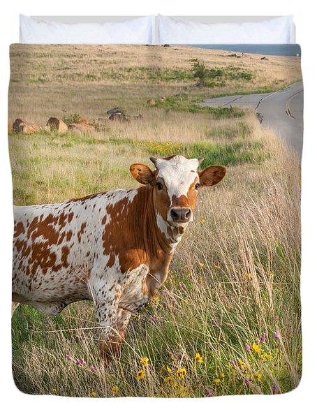Longhorn Calf Crossing Duvet Cover