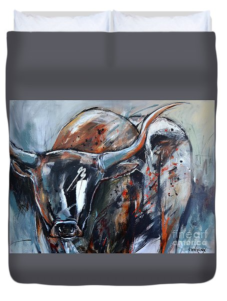 Duvet Cover featuring the painting Longhorn by Cher Devereaux