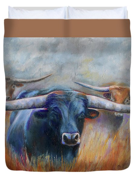 Longhorn Country Duvet Cover by Karen Kennedy Chatham