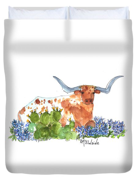 Longhorn In The Cactus And Bluebonnets Lh014 Kathleen Mcelwaine Duvet Cover