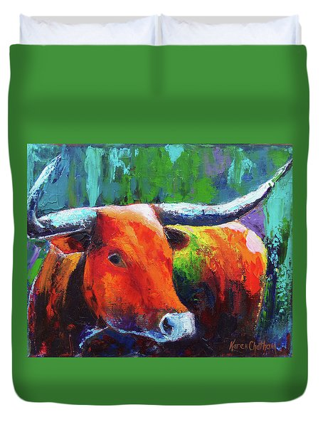 Duvet Cover featuring the painting Longhorn Jewel by Karen Kennedy Chatham