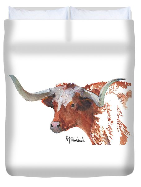 Longhorn Portrait Lh006 Watercolor Painting By Kmcelwaine Duvet Cover