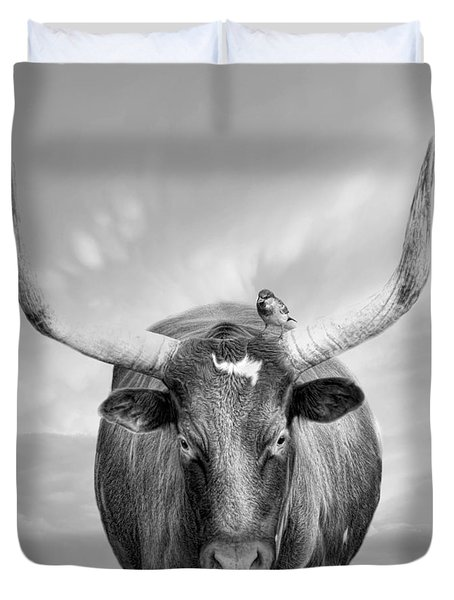 Duvet Cover featuring the photograph Longhorn Respite by Robin-Lee Vieira