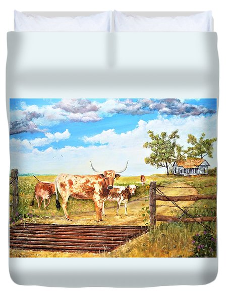 Longhorn Stand Off Your Place Or Mine Duvet Cover