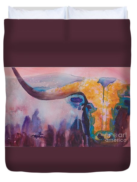 Longhorn Study #2 Duvet Cover by Ron Stephens