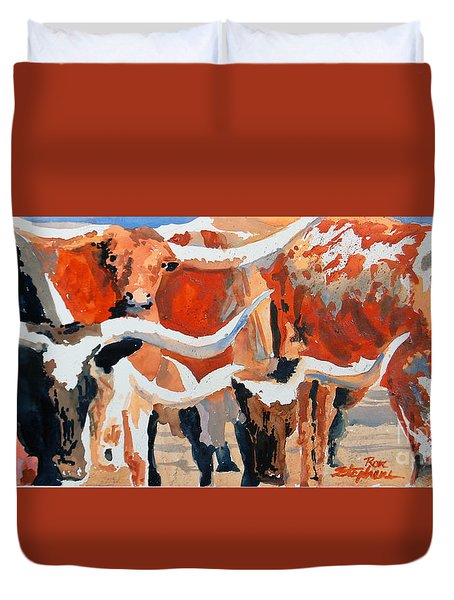 Longhorn Study #3 Duvet Cover by Ron Stephens