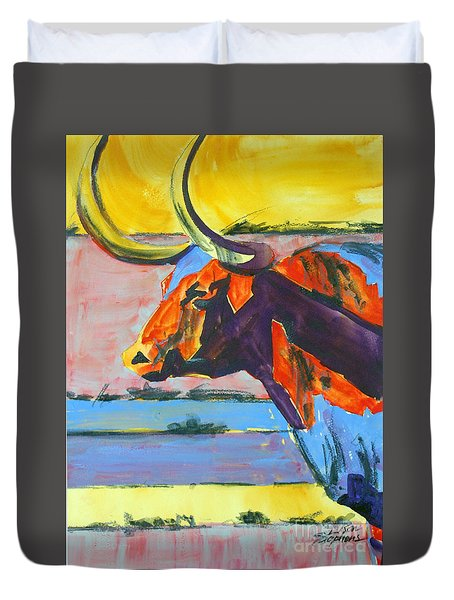 Longhorn Study#1 Duvet Cover by Ron Stephens