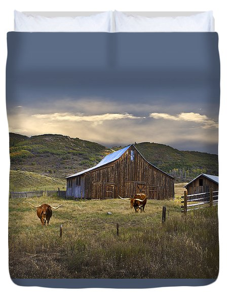 Duvet Cover featuring the photograph Longhorns On The Road To Steamboat Lake by John Hix