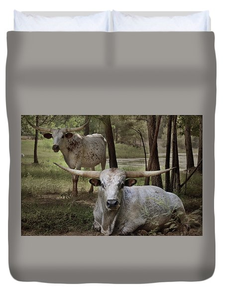 Longhorns On The Watch Duvet Cover