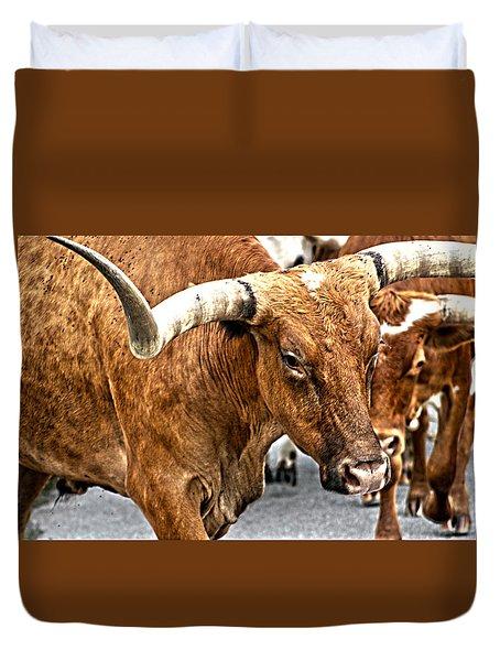 Longhorns Duvet Cover by Toni Hopper