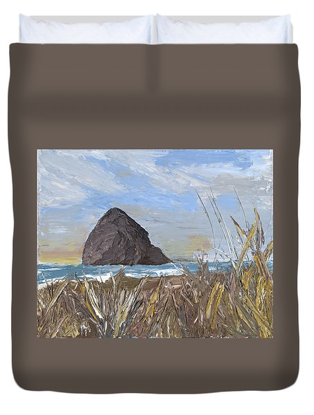 Longing For The Sounds Of Haystack Rock Duvet Cover