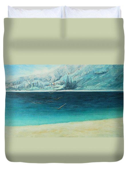 Duvet Cover featuring the painting Longing by Jane See