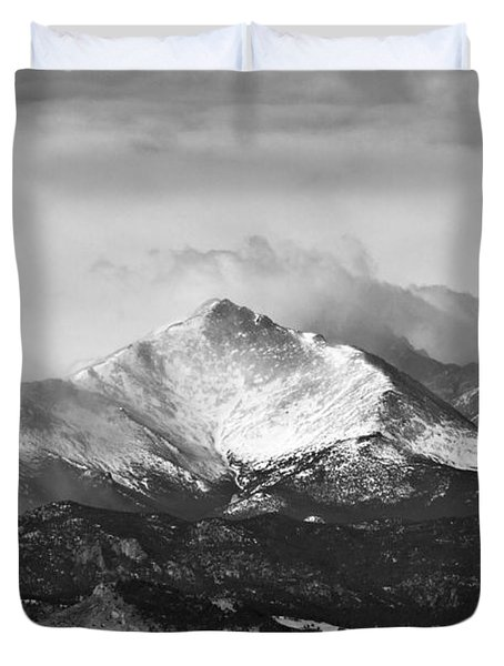 Longs Peak And A Mean Storm Duvet Cover by James BO  Insogna