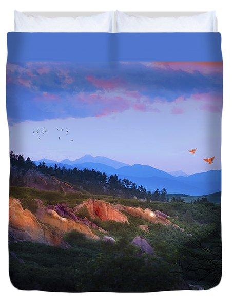 Longs Peak And Glowing Rocks Duvet Cover by J Griff Griffin
