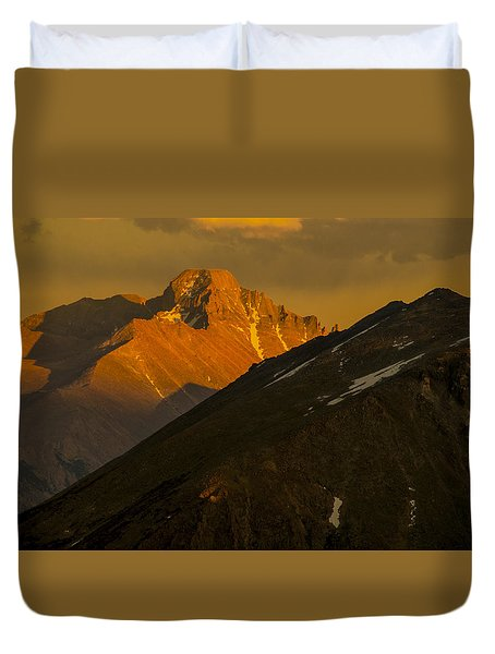 Duvet Cover featuring the photograph Long's Peak by Gary Lengyel