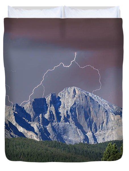 Longs Peak Lightning Storm Fine Art Photography Print Duvet Cover