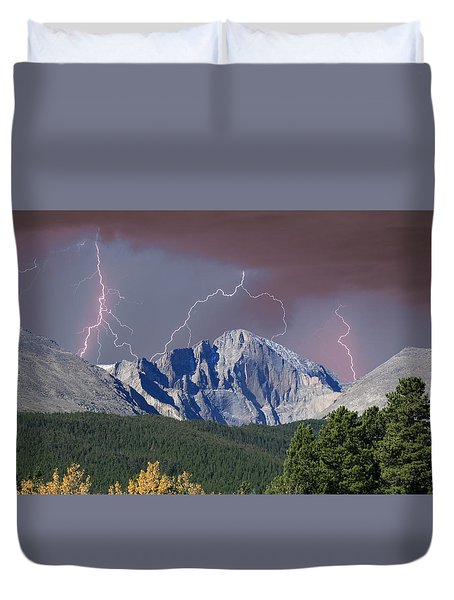 Longs Peak Lightning Storm Fine Art Photography Print Duvet Cover