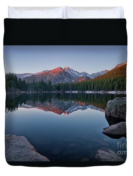 Longs Peak Reflection On Bear Lake Duvet Cover
