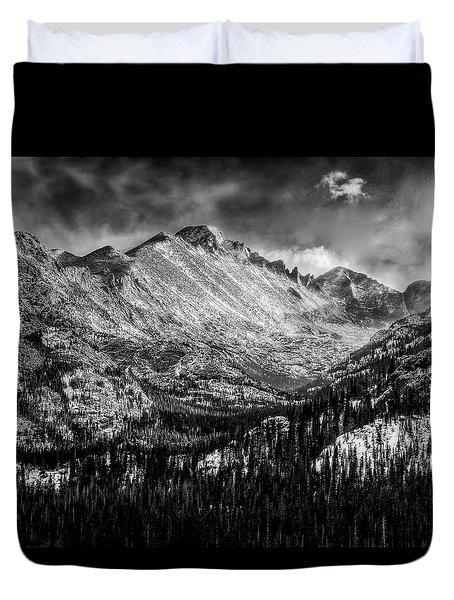 Longs Peak Rocky Mountain National Park Black And White Duvet Cover