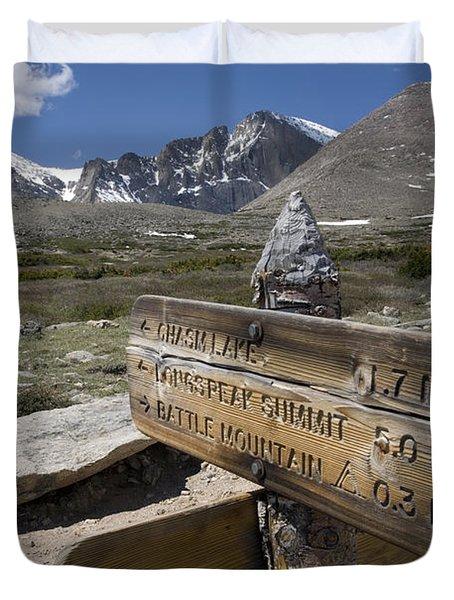 Longs Peak Seen From Chasm Lake Trail Duvet Cover
