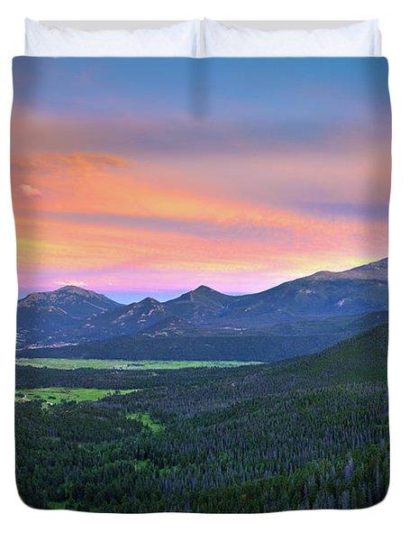 Longs Peak Sunset Duvet Cover