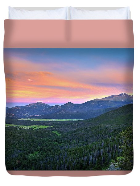 Duvet Cover featuring the photograph Longs Peak Sunset by David Chandler