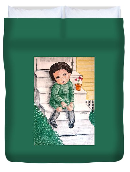Lonley Girl On Back Step Duvet Cover