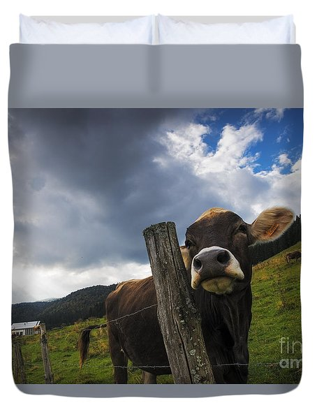 Duvet Cover featuring the photograph Look At Me by Yuri Santin