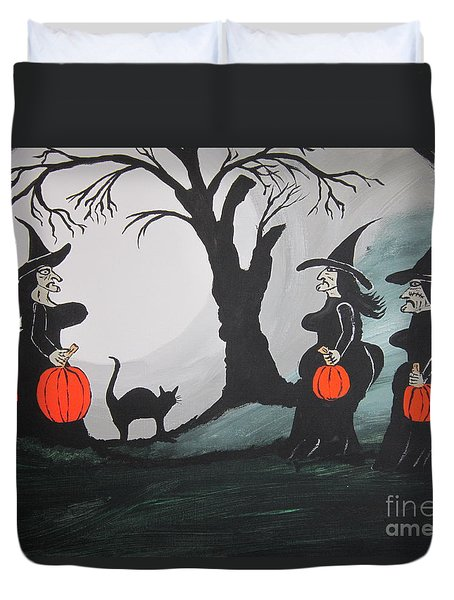 Duvet Cover featuring the painting Look At The Size Of Her Pumpkins by Jeffrey Koss