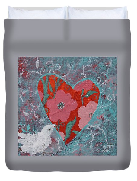 Duvet Cover featuring the painting Look Into My Heart  by Robin Maria Pedrero
