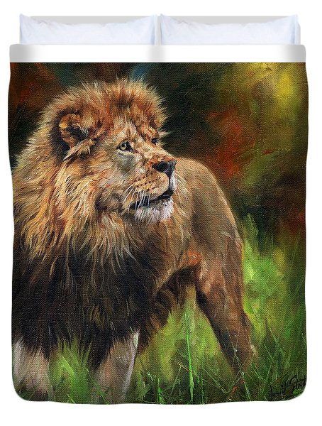 Duvet Cover featuring the painting Look Of The Lion by David Stribbling