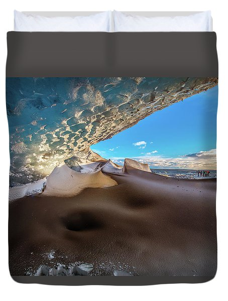 Look Out From Glacier Cave Duvet Cover by Allen Biedrzycki