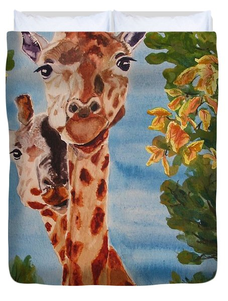 Duvet Cover featuring the painting Lookin Back by Karen Ilari
