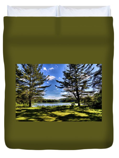 Looking At The Moose River Duvet Cover by David Patterson