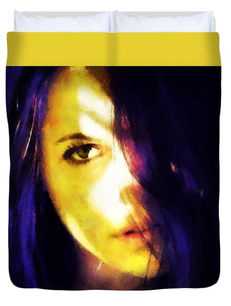 Duvet Cover featuring the digital art Looking At The World With One Eye Is Enough by Gun Legler