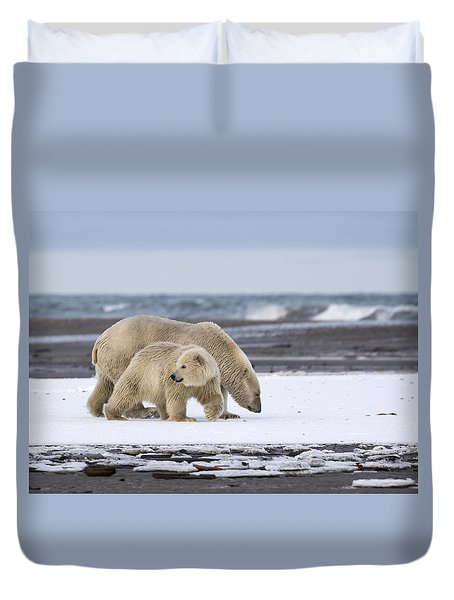 Looking Back In The Arctic Duvet Cover