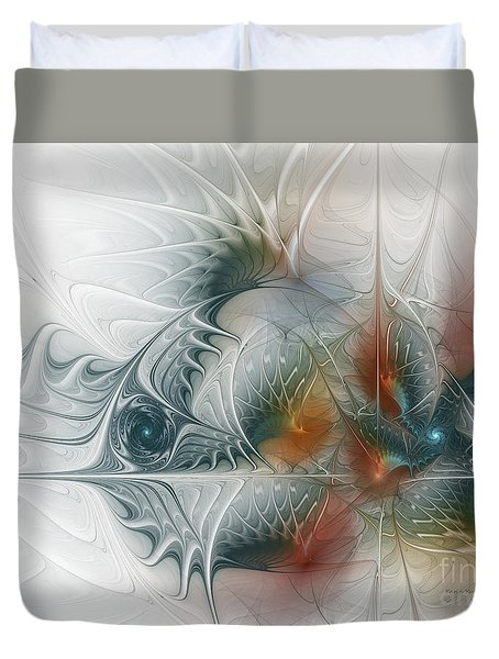 Duvet Cover featuring the digital art Looking Back by Karin Kuhlmann