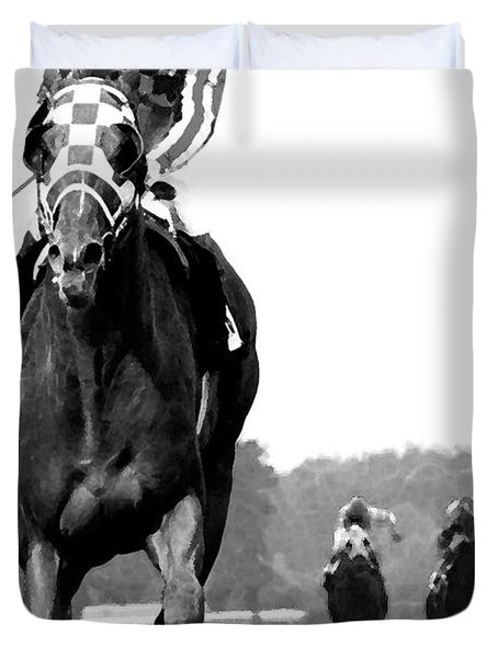Looking Back, 1973 Secretariat, Stretch Run, Belmont Stakes Duvet Cover