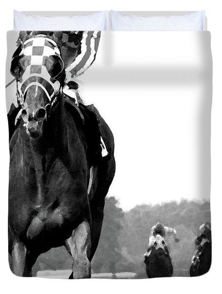 Looking Back, 1973 Secretariat, Stretch Run, Belmont Stakes Duvet Cover