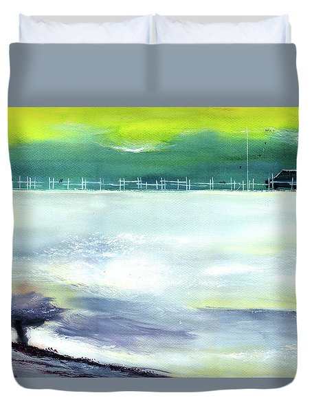 Duvet Cover featuring the painting Looking Beyond by Anil Nene
