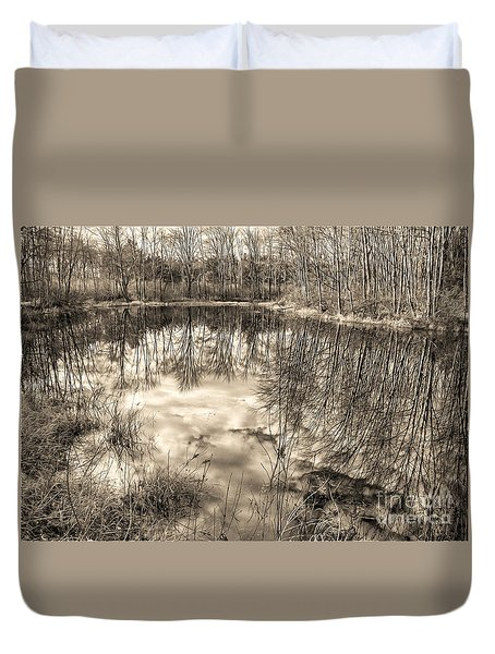 Looking Down Duvet Cover by Betsy Zimmerli