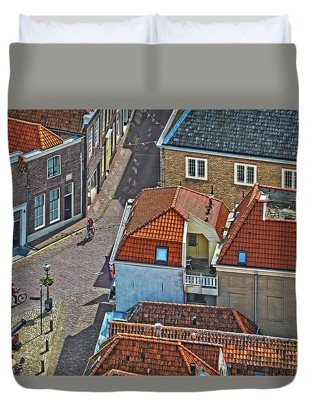 Looking Down From The Church Tower In Brielle Duvet Cover