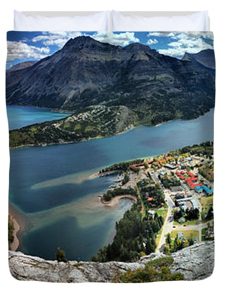 Looking Down On Waterton Lakes Duvet Cover