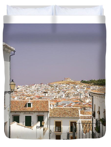 Looking Down Over Antequera  From Near The Church Of Santa Maria La Mayor  Duvet Cover by Mal Bray