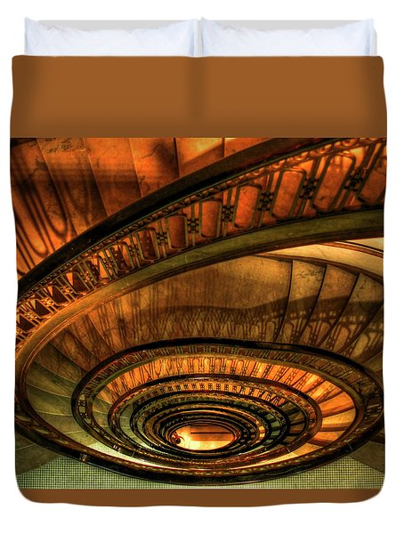 Looking Down The Ponce Stairs Opened In 1913 Duvet Cover by Reid Callaway